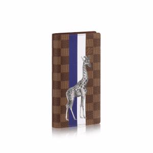 Louis Vuitton Damier Ebene with Giraffe Print Brazza Wallet