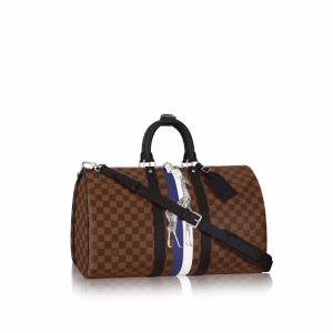 Louis Vuitton Damier Ebene with Giraffe Print Keepall 45 Bandouliere Bag