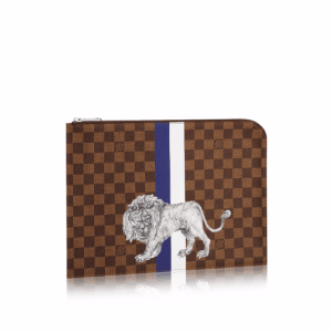 Louis Vuitton Damier Ebene with Lion Print Pochette Jour PM Bag