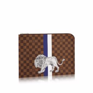 Louis Vuitton Damier Ebene with Lion Print Pochette Jour PM Bag