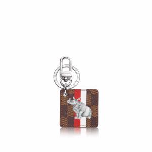 Louis Vuitton Damier Ebene with Rhinoceros Illustre Savane Bag Charm and Key Holder