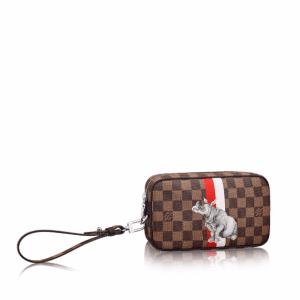 Louis Vuitton Damier Ebene with Rhinoceros Print Pochette Volga Bag