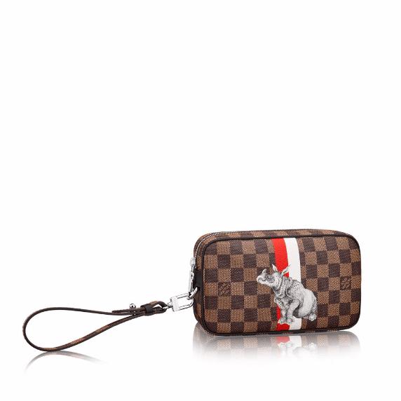 Louis Vuitton Damier Ebene with Rhinoceros Print Pochette Volga Bag 323a0e729a