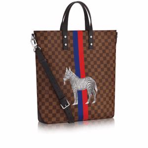 Louis Vuitton Damier Ebene with Zebra Print Atlas Tote Bag