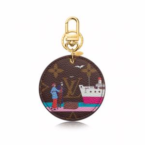 Louis Vuitton Monogram Canvas Transatlantic Cruises Print Illustre Evasion Bag Charm and Key Holder