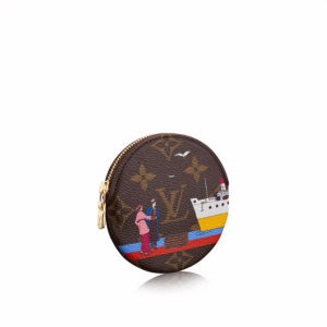 Louis Vuitton Monogram Canvas Transatlantic Cruises Print Round Coin Purse