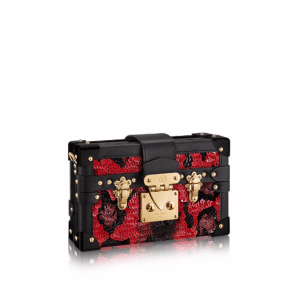 Louis Vuitton Red/Black Sequin Embroidered Petite Malle Bag