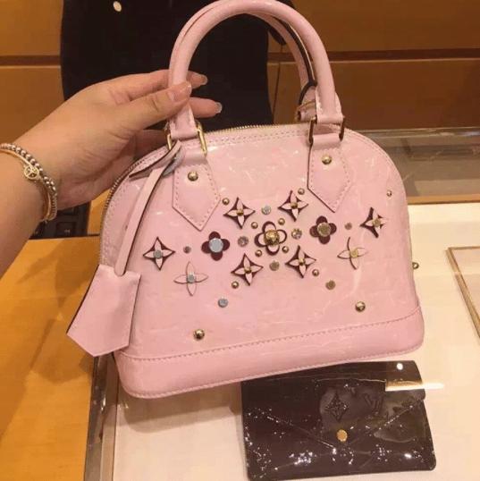 Louis Vuitton Rose Ballerine Monogram Vernis Alma Flower Bag 2