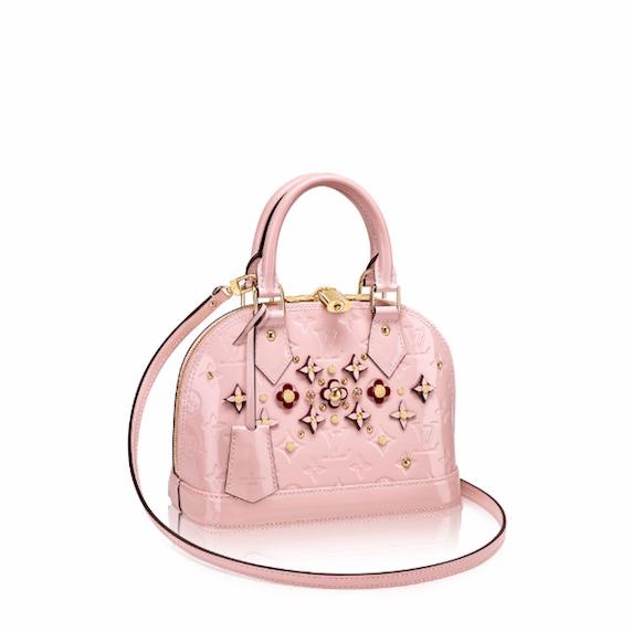 Louis Vuitton Rose Ballerine Monogram Vernis Alma Flower Bag