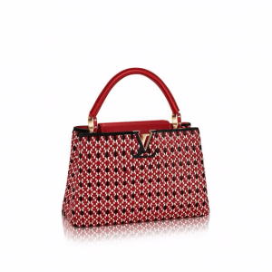 Louis Vuitton Rouge Plaited Leather Capucines PM Bag