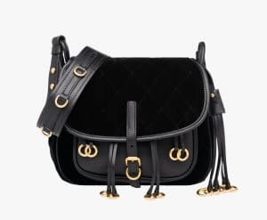 Prada Black Calf Leather/Velvet Corsaire Bag
