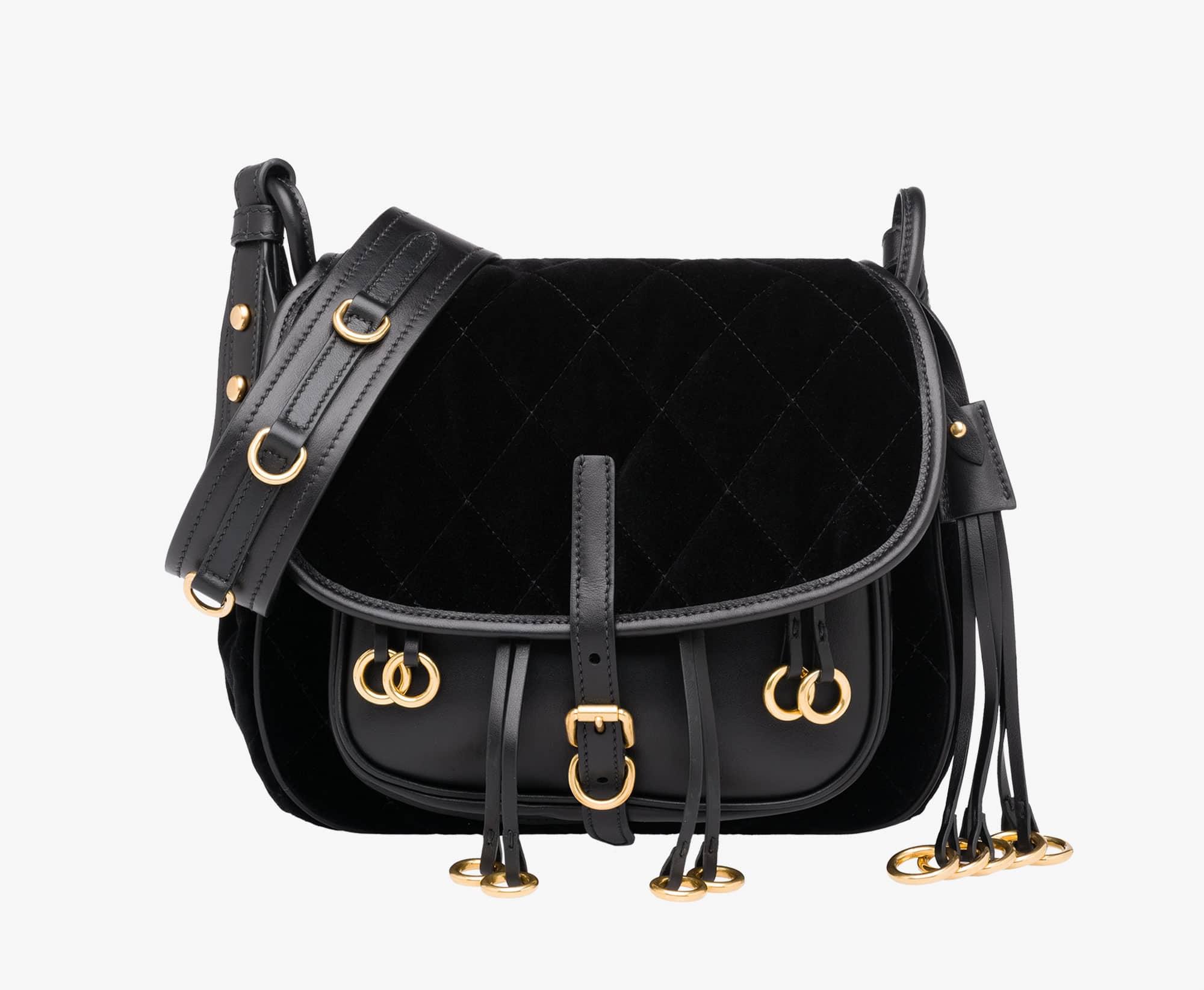 b29e7ce81c1d Prada Black Calf Leather Velvet Corsaire Bag