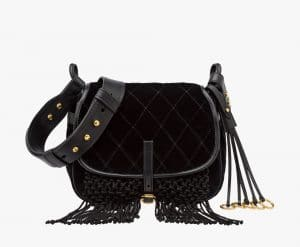 Prada Black Calf Leather/Velvet with Fringe Corsaire Bag