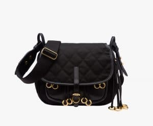 Prada Black Quilted Fabric Corsaire Bag