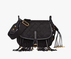 Prada Black Quilted Fabric with Fringe Corsaire Bag