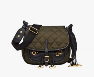 Prada Camouflage/Black Quilted Fabric Corsaire Bag