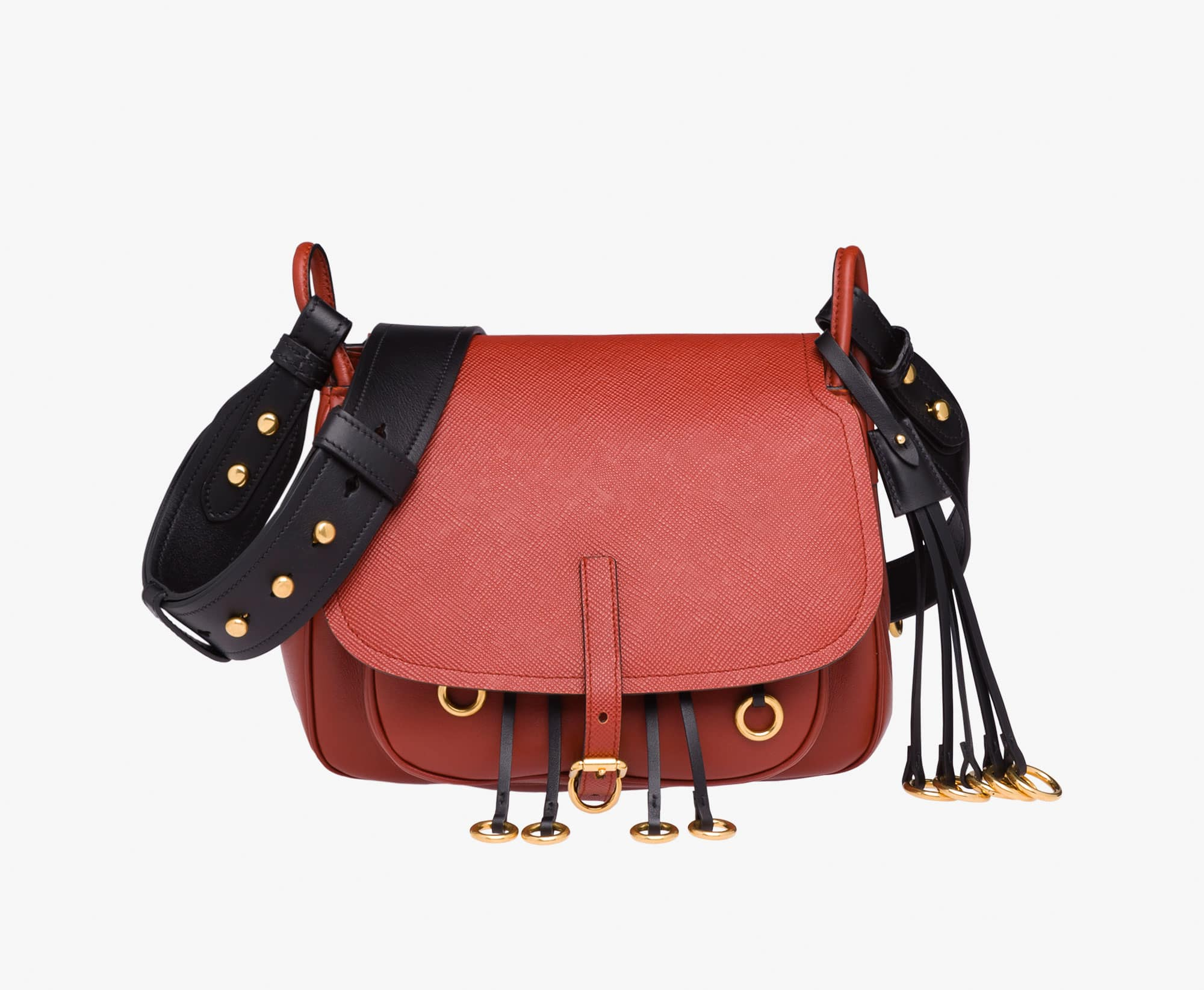 2a8dd00bed13 Prada Terracotta Black Calf Leather Corsaire Bag