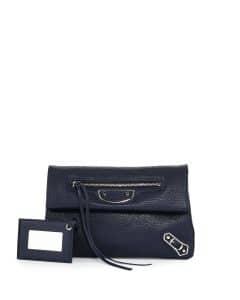 Balenciaga Blue Metallic Edge Mini Clutch Bag