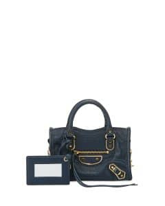 Balenciaga Blue Metallic Edge Nano Classic City Bag