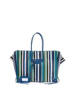 Balenciaga Blue Striped Papier B4 Zip-Around Tote Bag