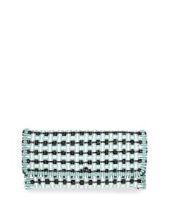 Balenciaga Blue/White/Black Bistrot Cabas Medium Woven Clutch Bag