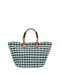 Balenciaga Blue/White/Black Bistrot Cabas Small Straw Tote Bag
