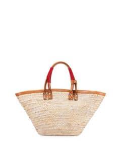 Balenciaga Neutral Bistrot Panier Medium Straw Tote Bag