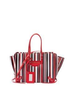 Balenciaga Red Striped Papier B4 Zip-Around Tote Bag