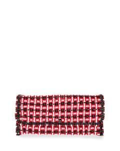 Balenciaga Red/White/Black Bistrot Cabas Medium Woven Clutch Bag