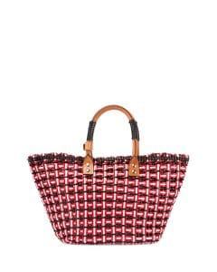 Balenciaga Red/White/Black Bistrot Cabas Small Straw Tote Bag
