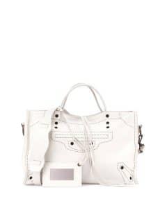 Balenciaga White Blackout City Bag