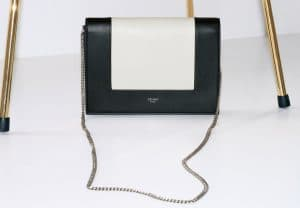 Celine Black/White Frame Evening Clutch On Chain Bag