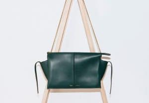 Celine Dark Green Clutch On Chain Tri-fold Shoulder Bag