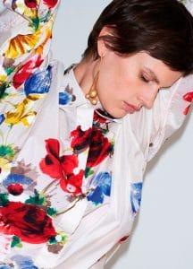 Celine Flower Painted Shirt and Dot Triple Long Earrings
