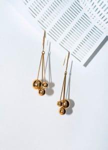 Celine Gold Brass Dot Triple Long Earrings