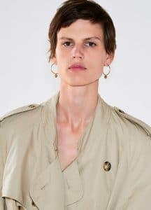 Celine Khaki Beige Trench Coat and Dot Hoop Earrings