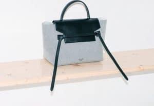 Celine Navy Blue Textile and Black Smooth Calfskin Mini Belt Bag