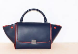 Celine Navy with Red Piping Small Trapeze Bag