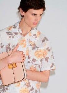 Celine Printed Roses Short Sleeves Shirt and Blush Medium Classic Box Shoulder Bag