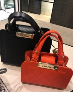 Chanel Black Small and Red Mini Label Click Shopping Tote Bag