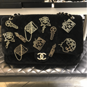 Chanel Black Velvet Embellished Classic Flap Bag - Pre-Fall 2017