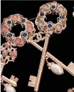 Chanel Gold/Pink Key Brooch - Pre-Fall 2017