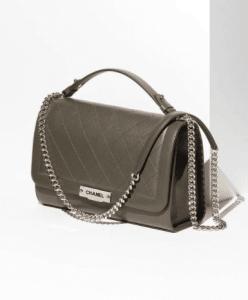 Chanel Khaki Label Click Large Flap Bag 2