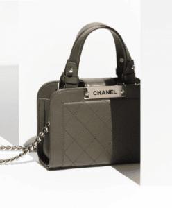 Chanel Khaki Label Click Mini Shopping Tote Bag 2