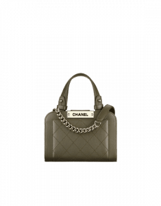 Chanel Khaki Label Click Mini Shopping Tote Bag