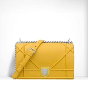 Dior Acacia Yellow Grained Calfskin Diorama Bag
