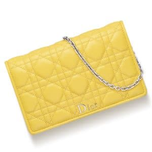 Dior Acacia Yellow Lambskin Lady Dior Wallet On Chain Bag