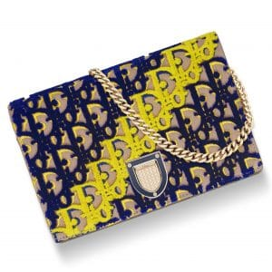 Dior Beige Oblique Fabric Embroidered with Tufted Velvet Diorama Wallet On Chain Pouch Bag