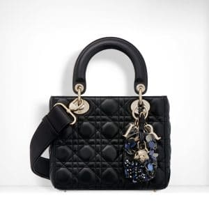 Dior Black Lambskin with Embroidered Address Tag Lady Dior Bag