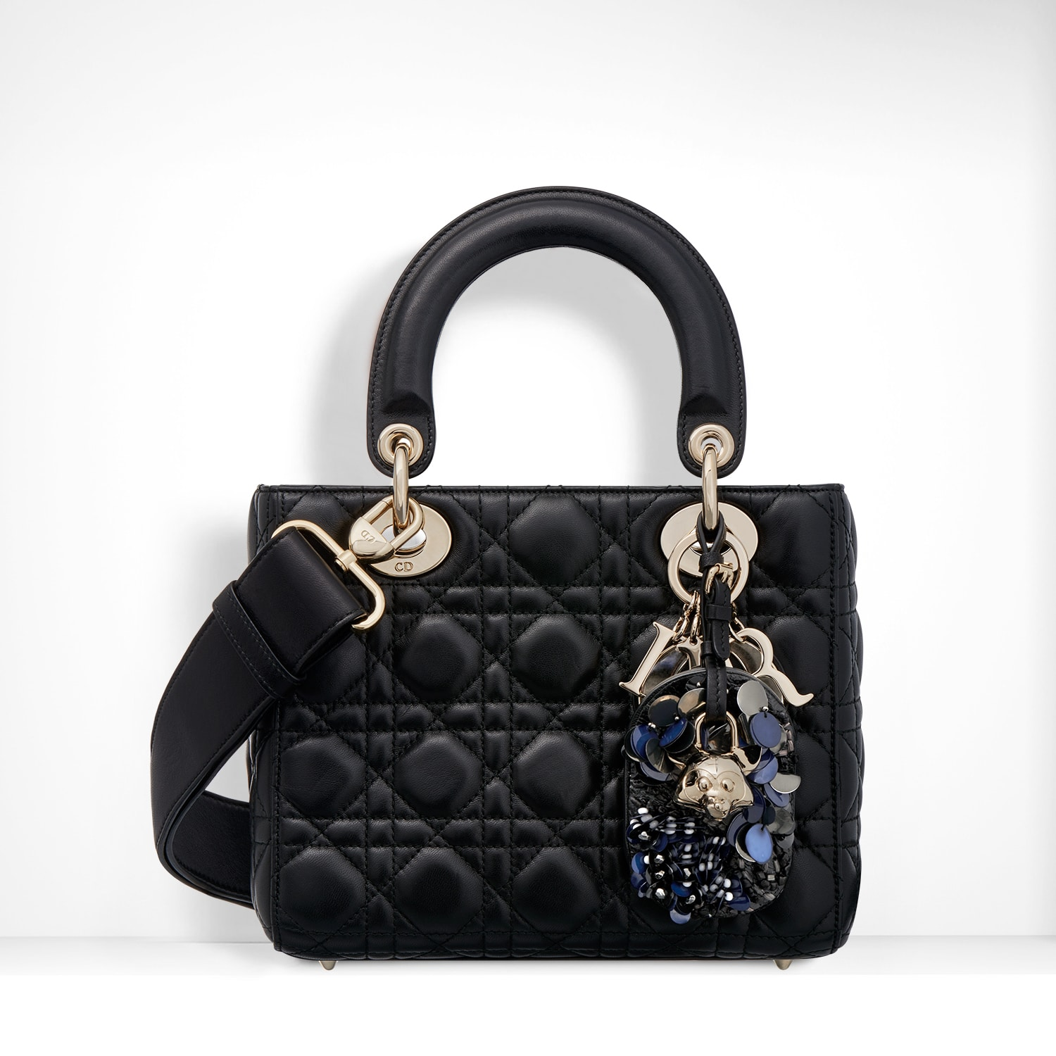 Dior Black Lambskin With Embroidered Address Tag Lady Bag
